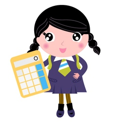 Beautiful school girl with yellow calculator vector image