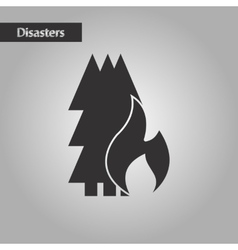 Black and white style forest fire vector