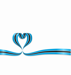 botswana flag heart-shaped ribbon vector image