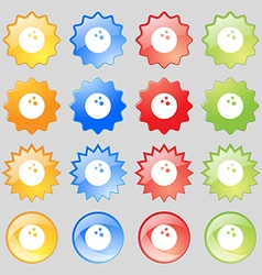Bowling game ball icon sign Big set of 16 colorful vector image