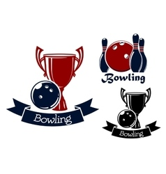 Bowling game icons with balls ninepins and trophy vector image