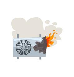 broken burning air conditioner damaged home vector image