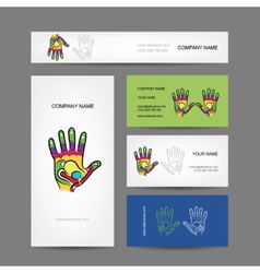 Business cards design with hand massage vector