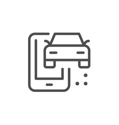 car mobile service line outline icon vector image
