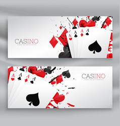 Casino playing cards banners set background vector