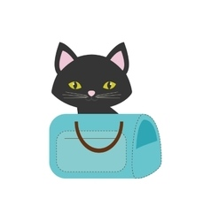 cat pink ears green eyes blue pet carrier bag vector image