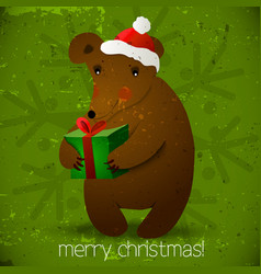 Christmas bear background vector image