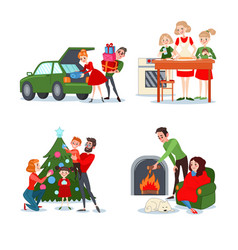 Christmas family scenes couple with gift boxes vector