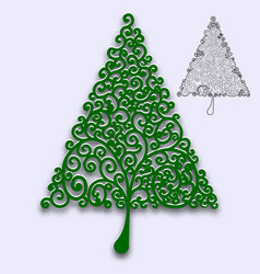 Christmas tree with curls pattern for design of vector