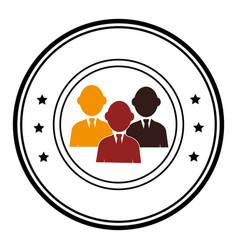 circular border silhouette executive men vector image