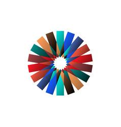 Circular multicolored pattern spirographic symbol vector