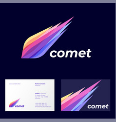 comet logo astronomical object icon transparent vector image
