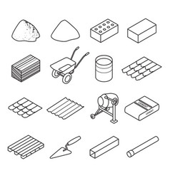 construction material line set icon vector image