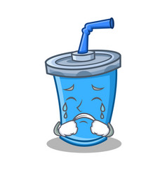 Crying soda drink character cartoon vector