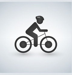 Cyclist icon simple cycling sign vector