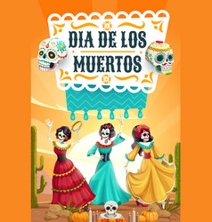 Day dead skeletons mexican party fiesta dance vector