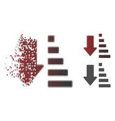 decomposed pixel halftone sort down arrow icon vector image