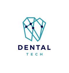 dental tech geometric connection logo icon vector image