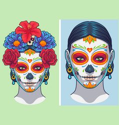 Dia de los muertos lady makeup and accessories vector