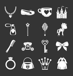 doll princess items icons set grey vector image