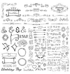 doodle borderarrowsdecor element setromantic vector image