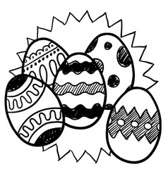 Doodle easter eggs star vector