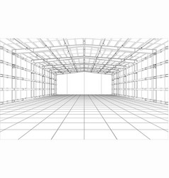 Drawing or sketch a large warehouse vector