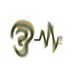 Ear hearing sound sign colorful icon vector