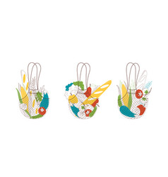 Eco shopping handbags with vegan product set vector