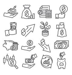 economy line icons set on white background vector image