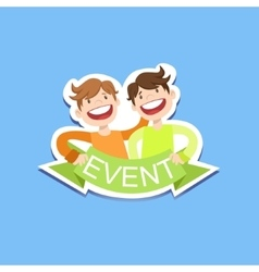 Event template label cute sticker with smiling vector