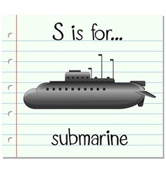 Flashcard letter S is for submarine vector