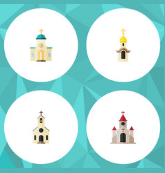flat icon church set of structure traditional vector image