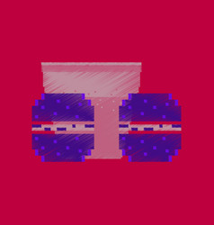 Flat shading style icon pixel burgers and a glass vector