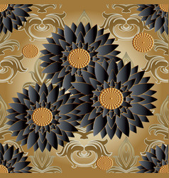 floral seamless pattern golden flourish vector image