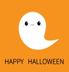 Flying ghost spirit boo happy halloween scary vector