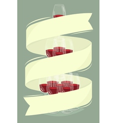 Glass tower of wine with banner vector