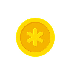 Golden coin with a snowflake vector