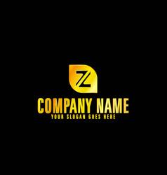 golden letter z emblem with black background vector image