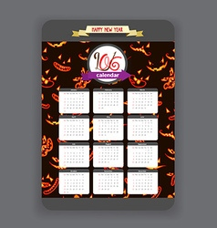 Halloween ghost face background Calendar 2016 year vector