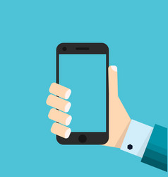 Hand holing smartphone touching blank screen vector