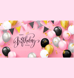 Happy birthday holiday card with balloons garland vector