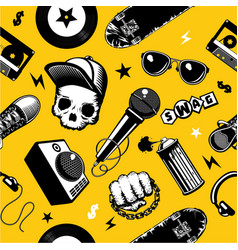 Hip-hop seamless pattern with music equipment vector