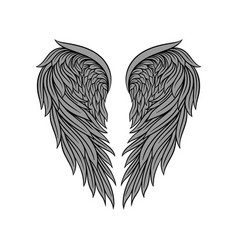 Icon of gorgeous heraldic angel wings with vector