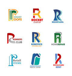 letter r business identity icons and signs vector image