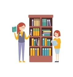 Library Or Bookstore With With Two Girls Choosing vector