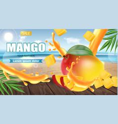 mango fruit sliced on tropic background realistic vector image
