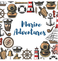 Marine adventure icons and symbols sea attributes vector
