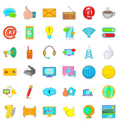 Media work icons set cartoon style vector