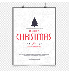 merry christmas greetings design with white vector image